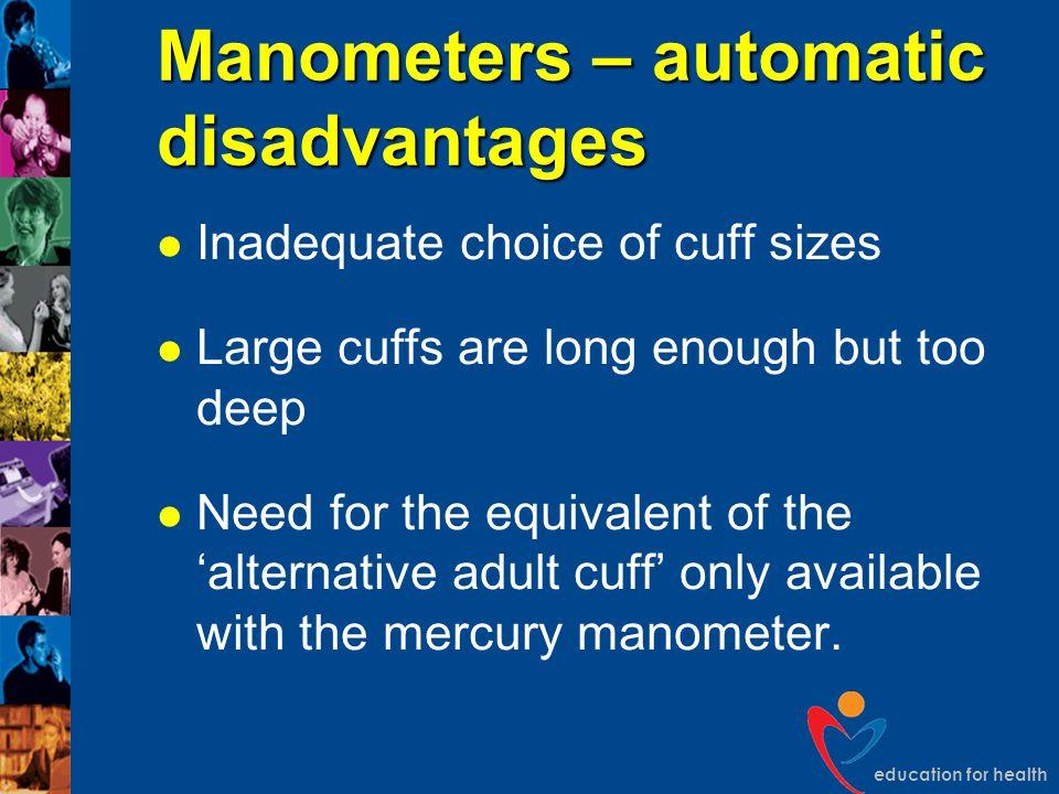 Manometers – automatic disadvantages