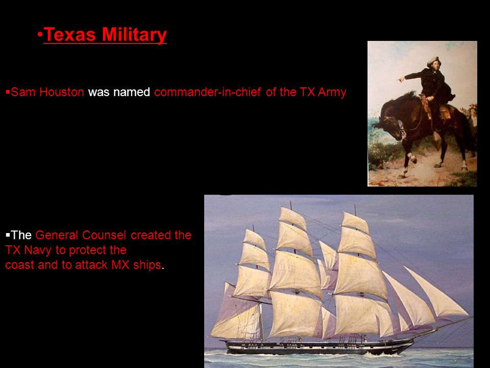 Texas Military Sam Houston was named commander-in-chief of the TX Army