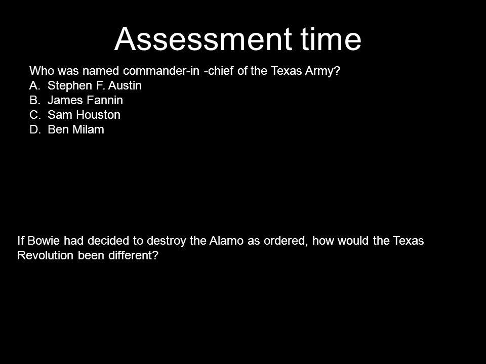 Assessment time Who was named commander-in -chief of the Texas Army