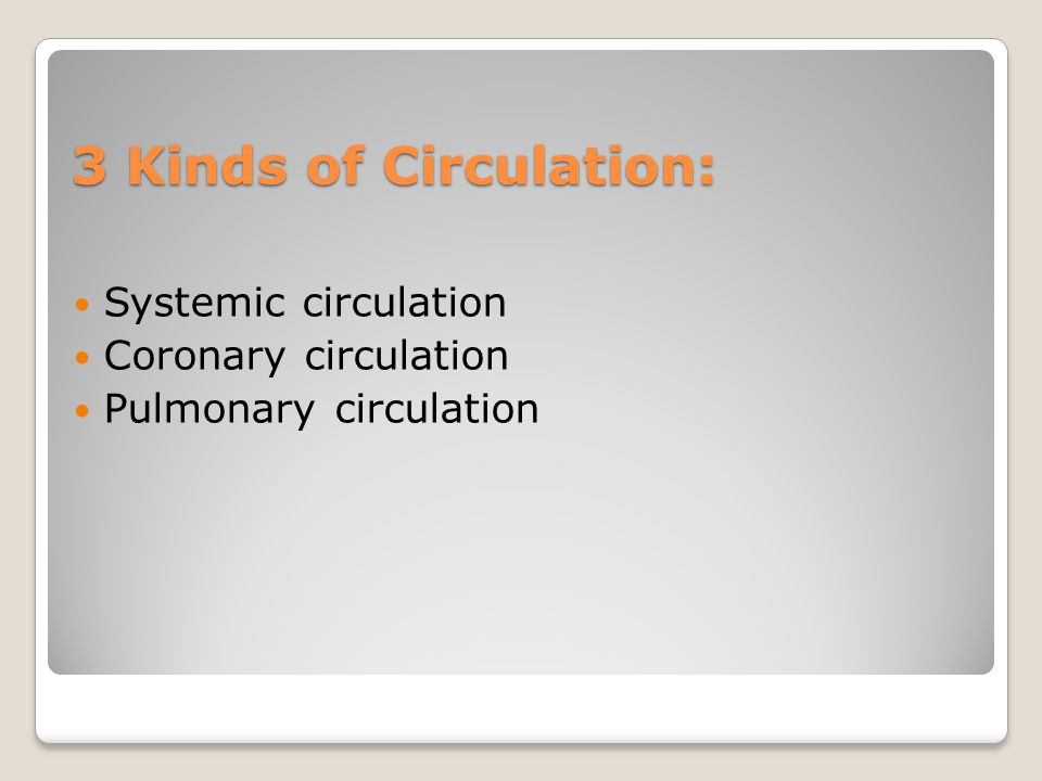 3 Kinds of Circulation: Systemic circulation Coronary circulation