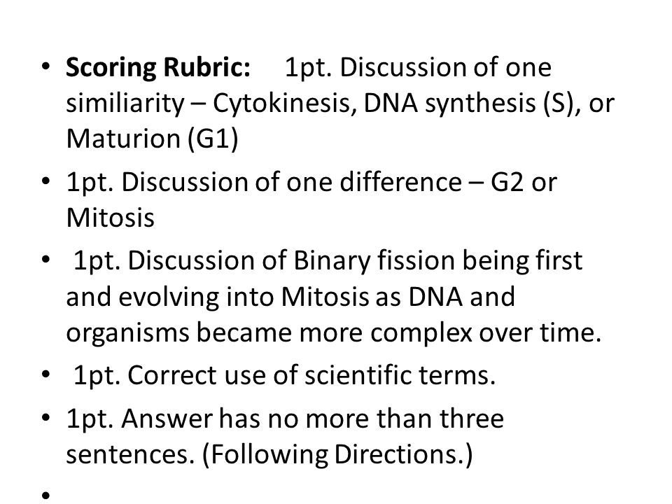 Scoring Rubric: 1pt. Discussion of one similiarity – Cytokinesis, DNA synthesis (S), or Maturion (G1)