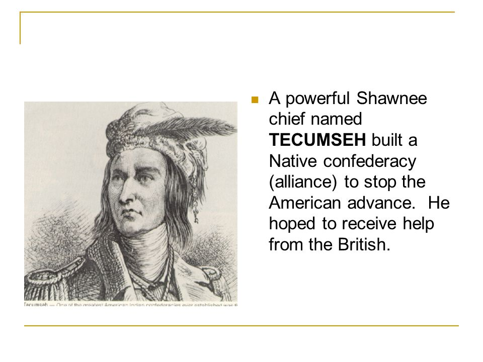 A powerful Shawnee chief named TECUMSEH built a Native confederacy (alliance) to stop the American advance.