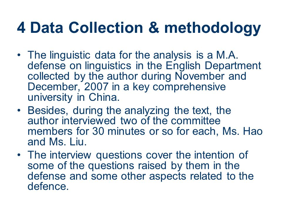 4 Data Collection & methodology