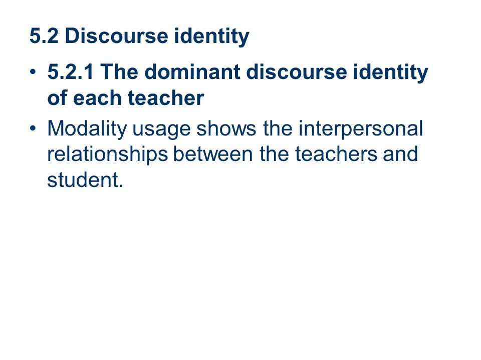5.2 Discourse identity 5.2.1 The dominant discourse identity of each teacher.