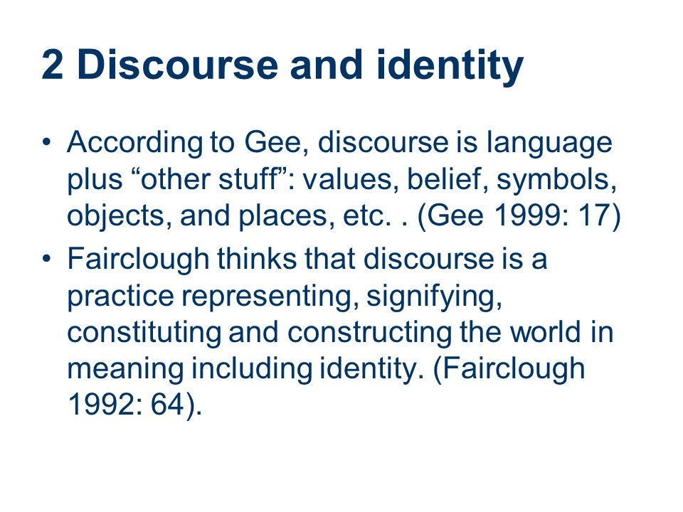 2 Discourse and identity