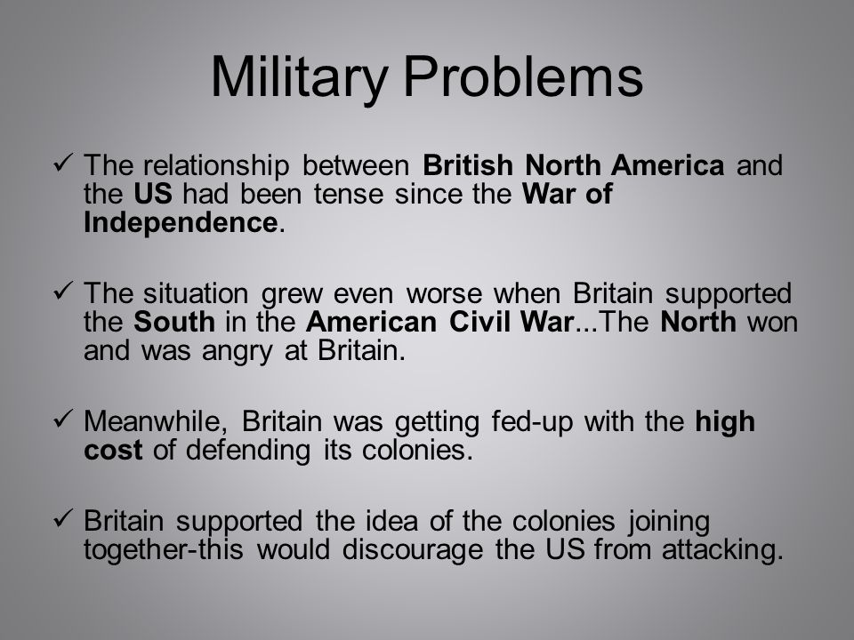 Military Problems The relationship between British North America and the US had been tense since the War of Independence.