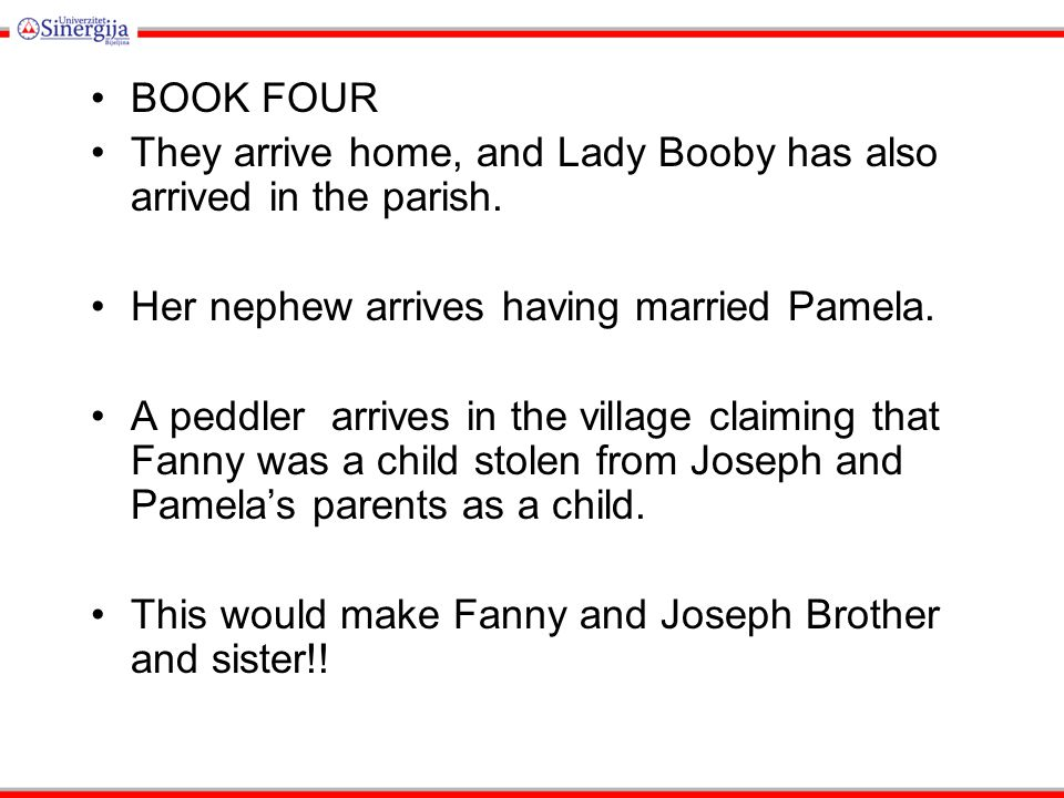 BOOK FOUR They arrive home, and Lady Booby has also arrived in the parish. Her nephew arrives having married Pamela.