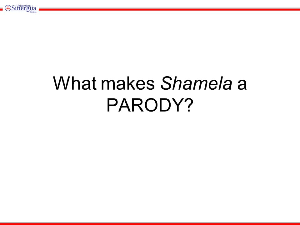 What makes Shamela a PARODY