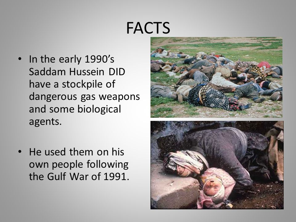 FACTS In the early 1990's Saddam Hussein DID have a stockpile of dangerous gas weapons and some biological agents.