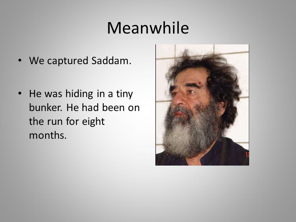 Meanwhile We captured Saddam.