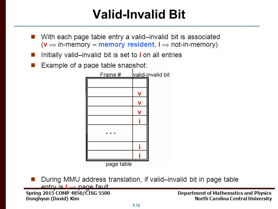 Valid-Invalid Bit With each page table entry a valid–invalid bit is associated (v  in-memory – memory resident, i  not-in-memory)