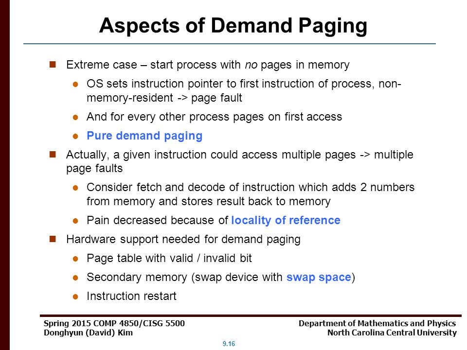 Aspects of Demand Paging