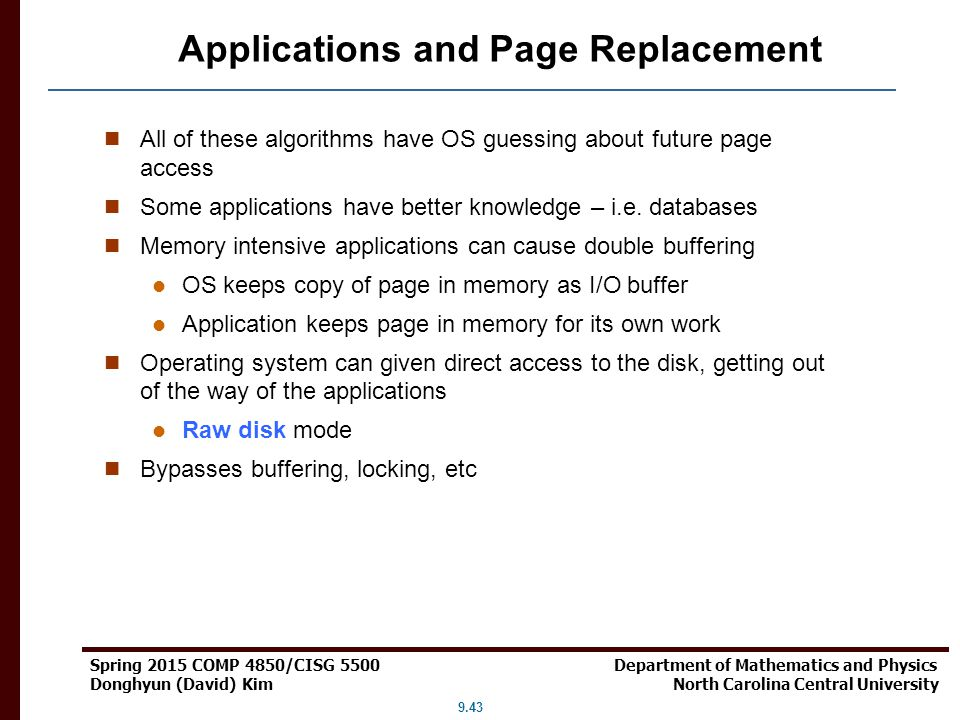 Applications and Page Replacement