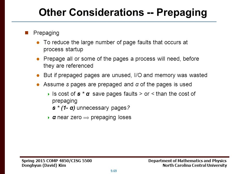Other Considerations -- Prepaging