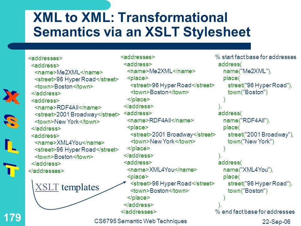 XML to XML: XSLT Stylesheet with a Tree-Transforming Template 1