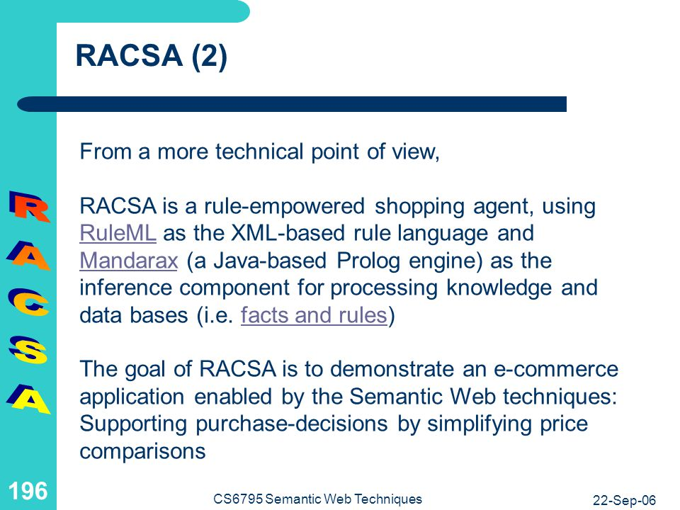 RACSA RACSA (3) The project is restricted to an exemplary domain: