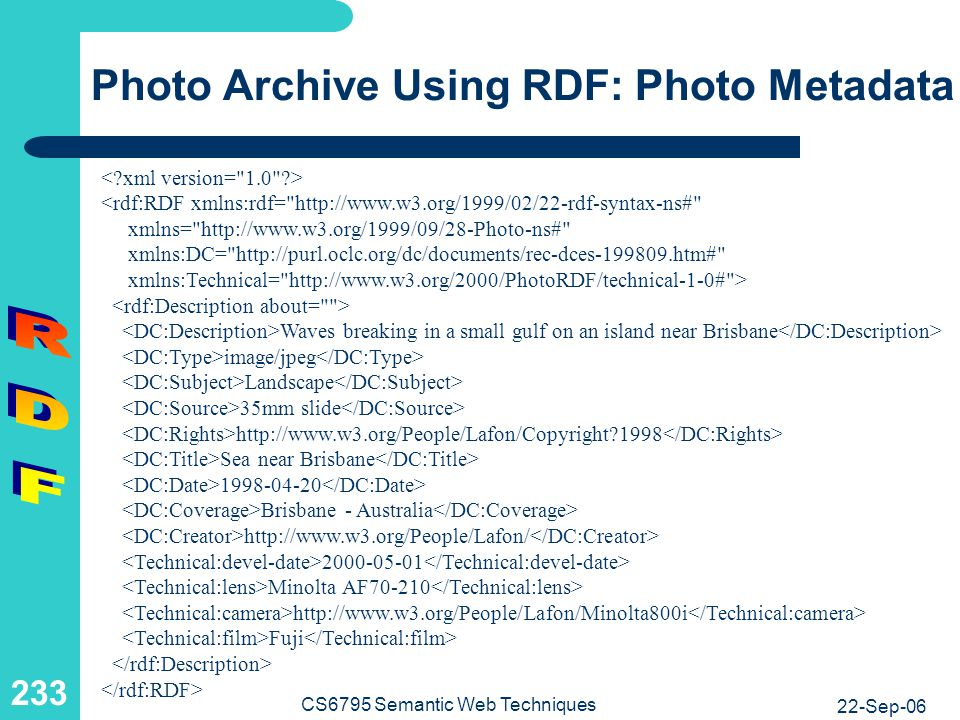 Photo Archive Using RDF: RDFS Excerpt