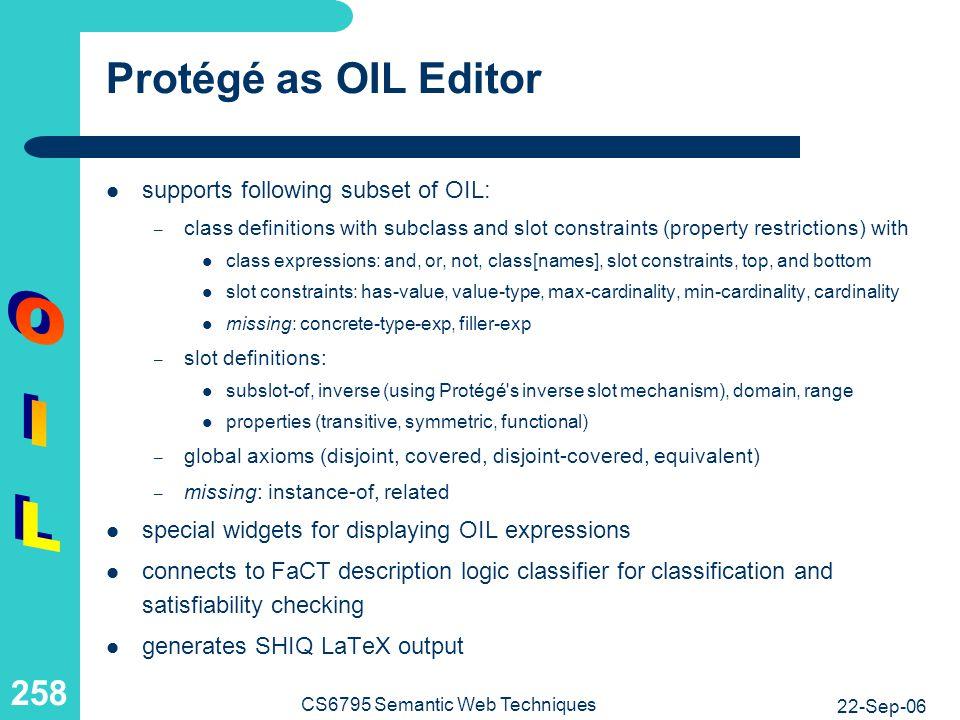 Protégé as OIL Editor: Screenshot