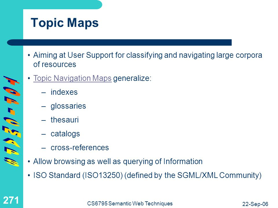 Topic Navigation Maps in a Nutshell I