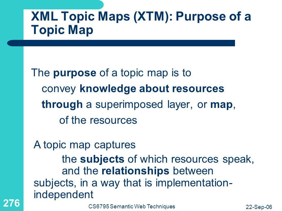 XML Topic Maps (XTM): Topics, Associations, and Occurrences
