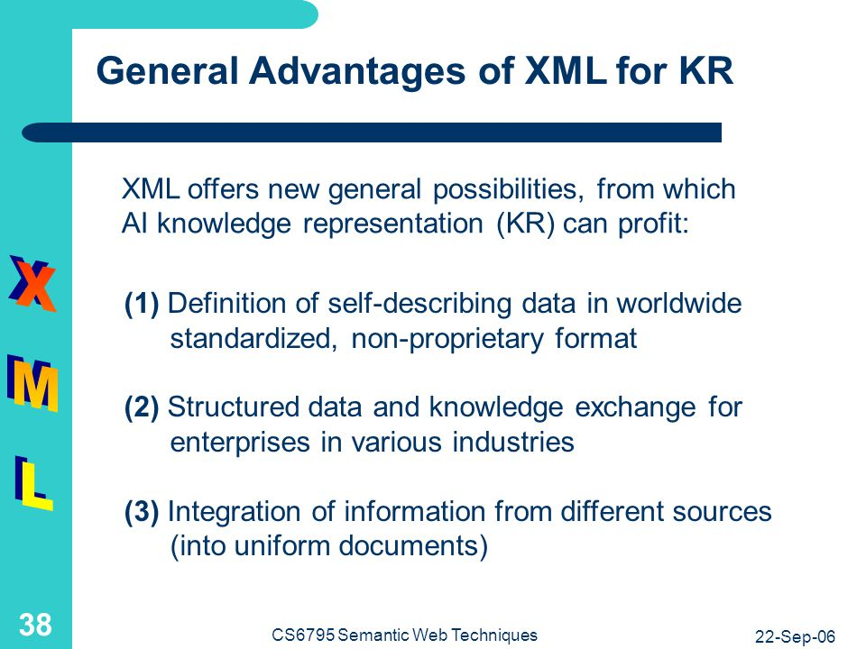 Specific Advantages of XML for KR