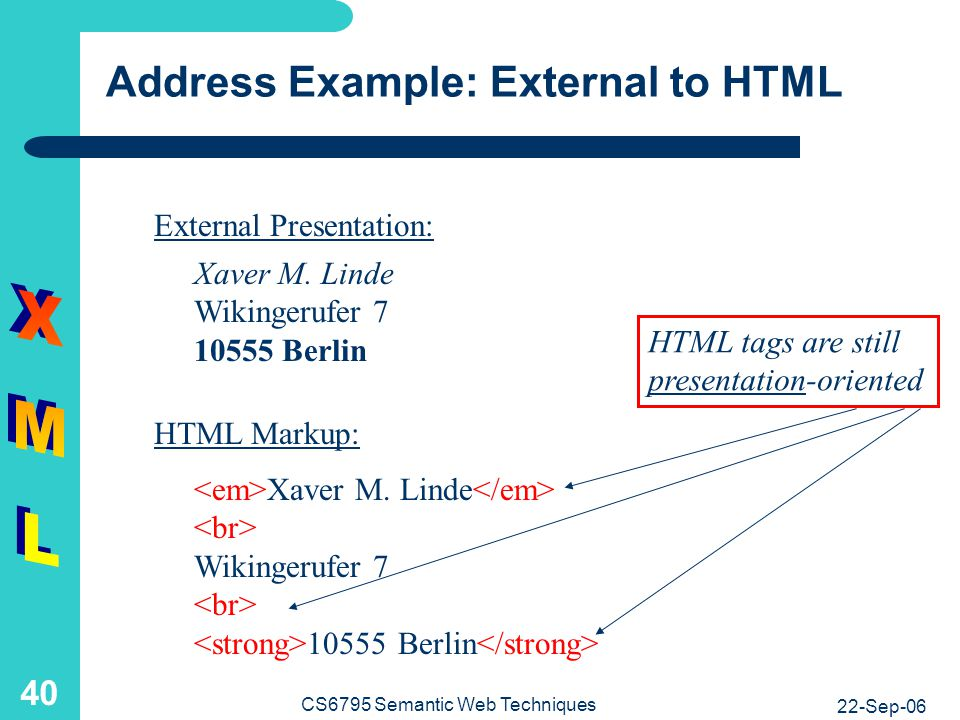 Address Example: HTML to XML
