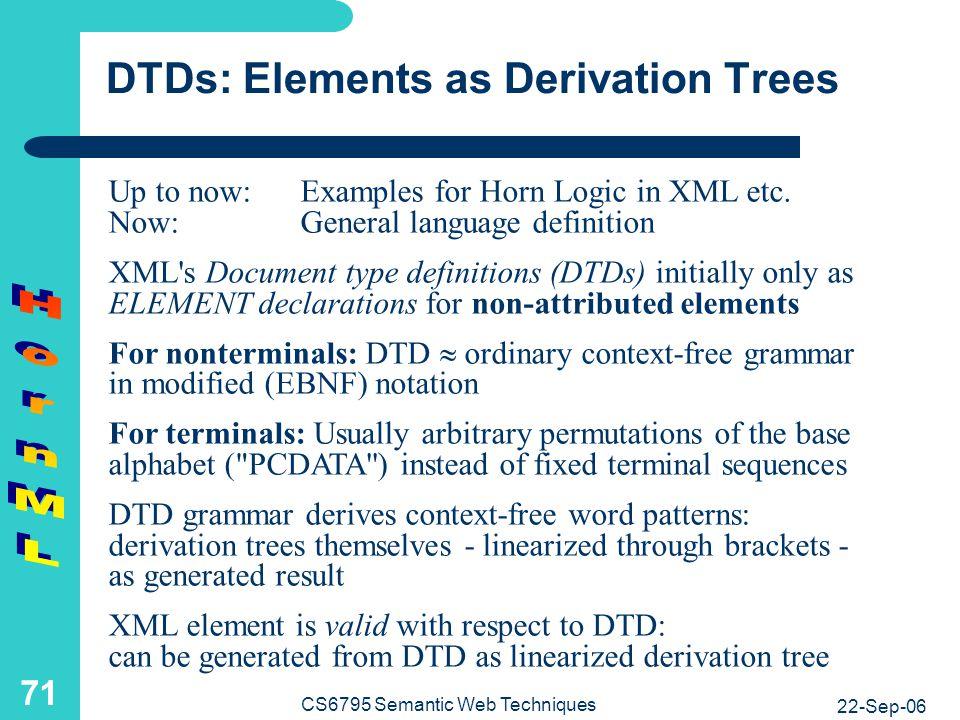 DTDs: Defining Horn Logic in XML