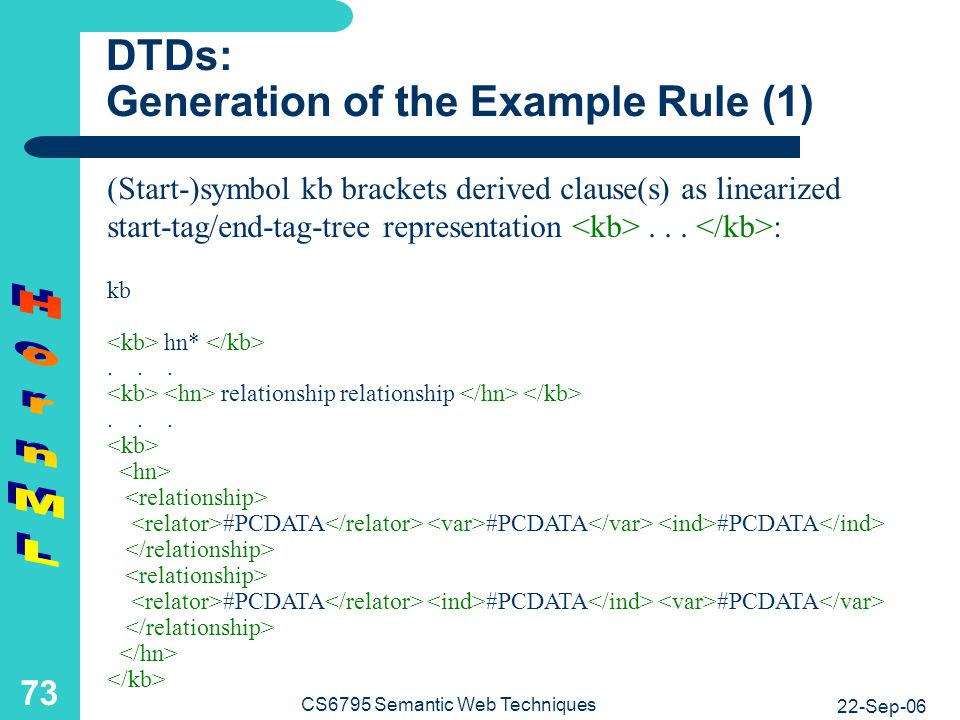 DTDs: Generation of the Example Rule (2)