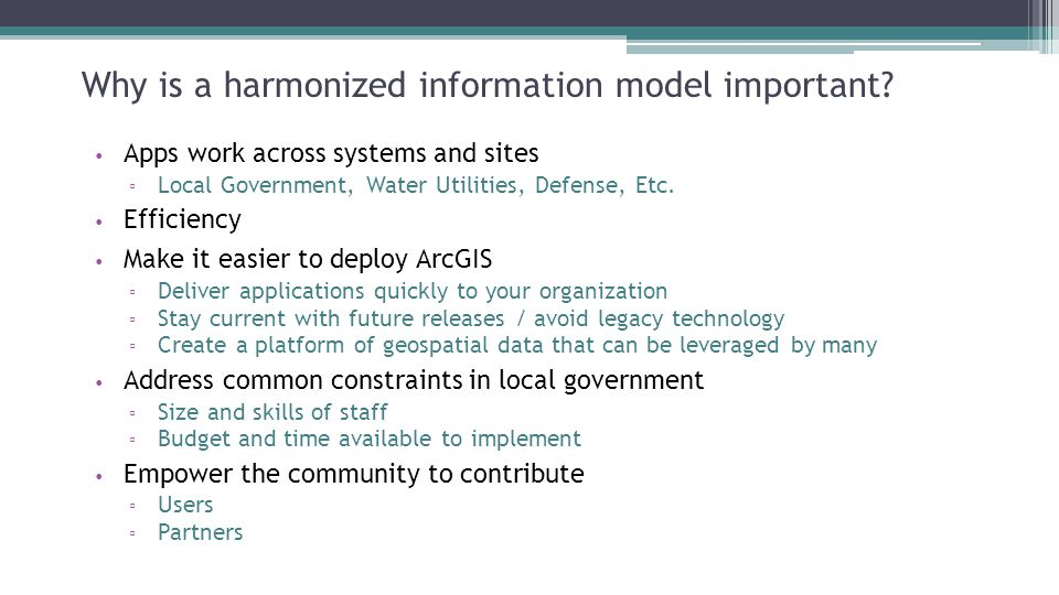 Why is a harmonized information model important