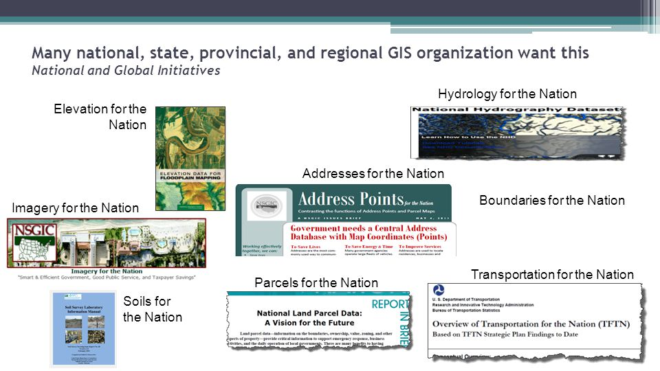 Many national, state, provincial, and regional GIS organization want this National and Global Initiatives