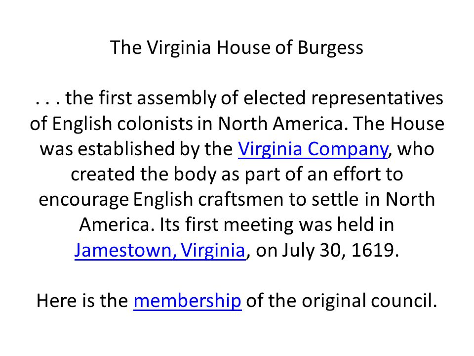 The Virginia House of Burgess