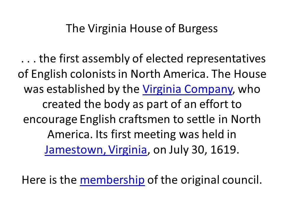 The Virginia House of Burgess
