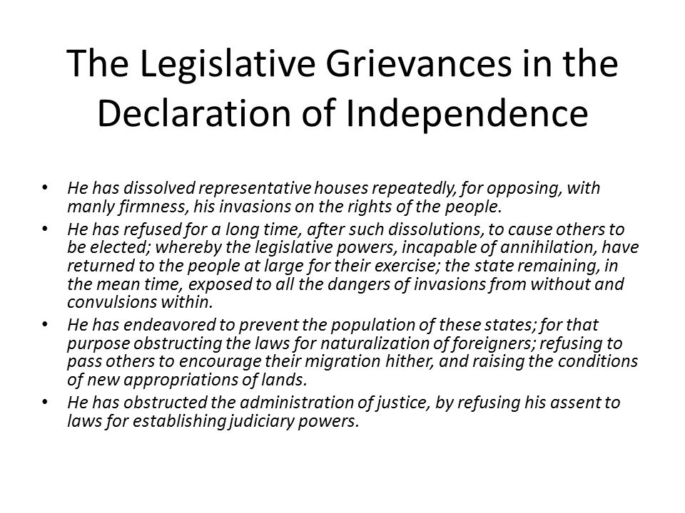 The Legislative Grievances in the Declaration of Independence