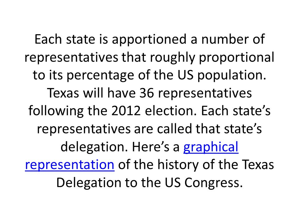 Each state is apportioned a number of representatives that roughly proportional to its percentage of the US population.