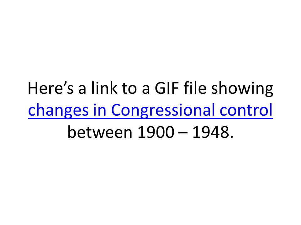 Here's a link to a GIF file showing changes in Congressional control between 1900 – 1948.