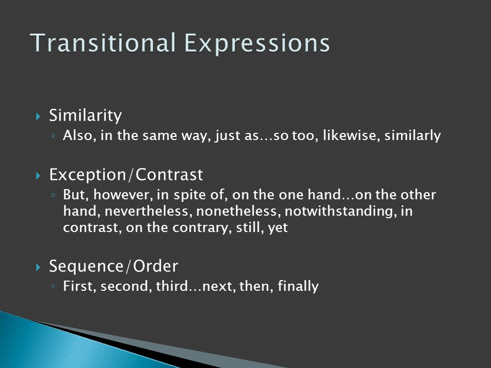Transitional Expressions