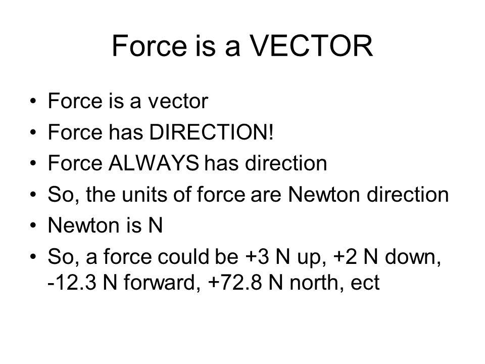 Force is a VECTOR Force is a vector Force has DIRECTION!