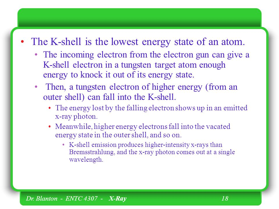 The K-shell is the lowest energy state of an atom.