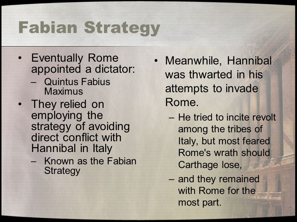 Fabian Strategy Eventually Rome appointed a dictator: