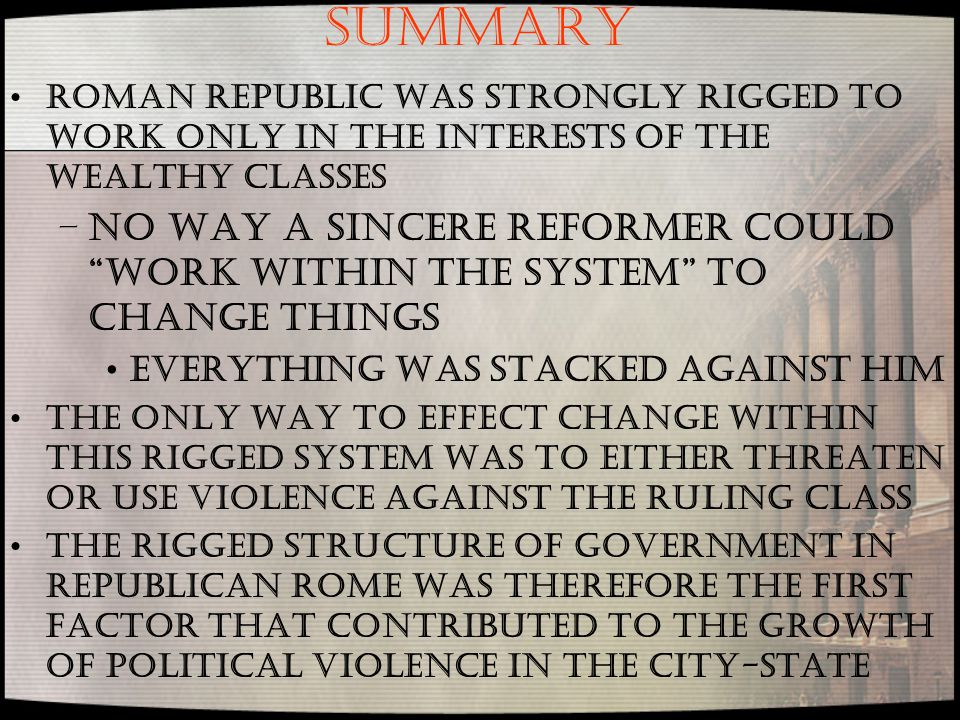 SUMMARY Roman Republic was strongly rigged to work only in the interests of the wealthy classes.