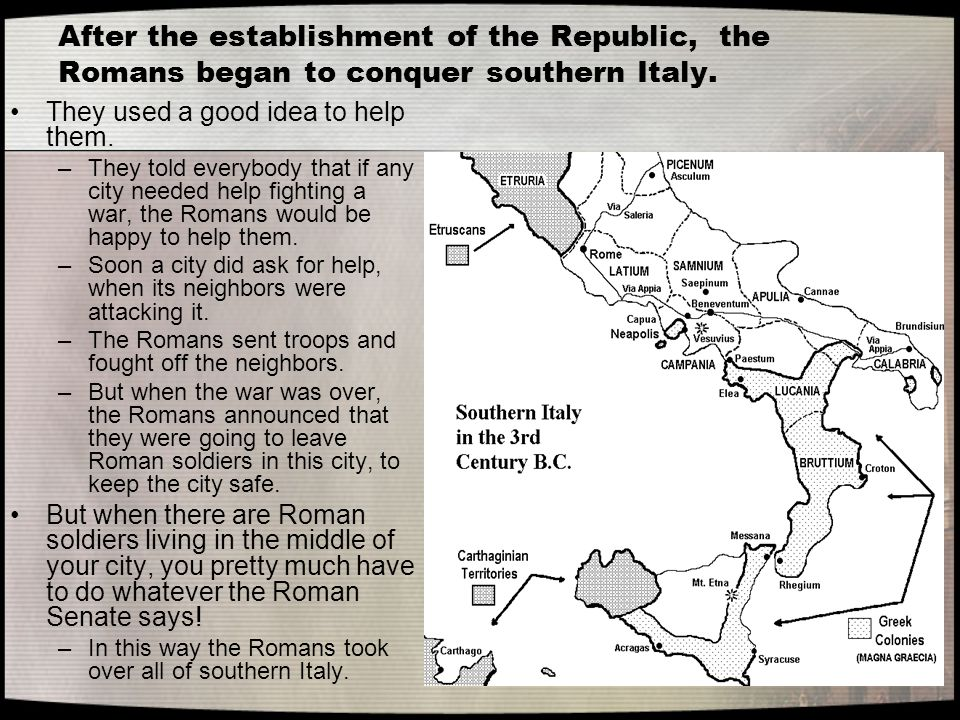 After the establishment of the Republic, the Romans began to conquer southern Italy.