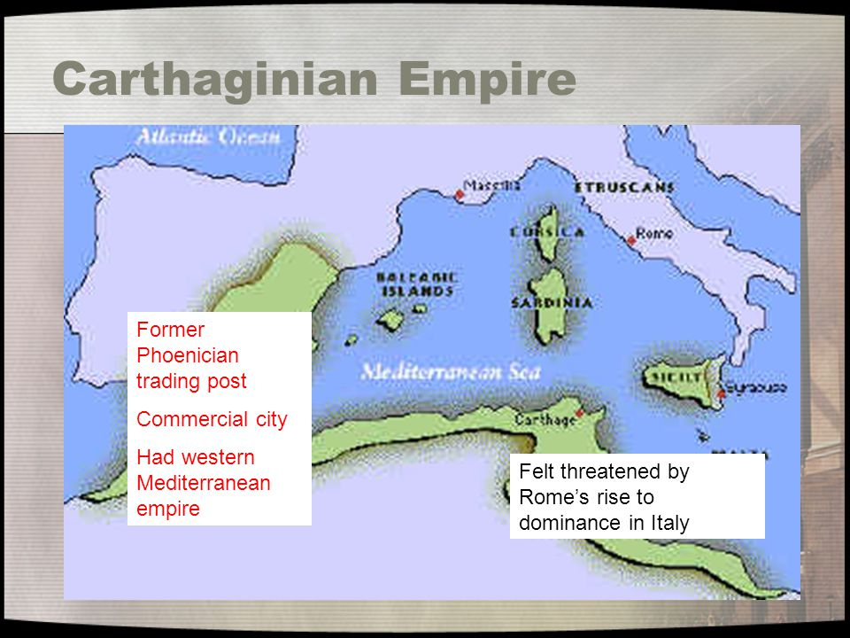 Carthaginian Empire Former Phoenician trading post Commercial city