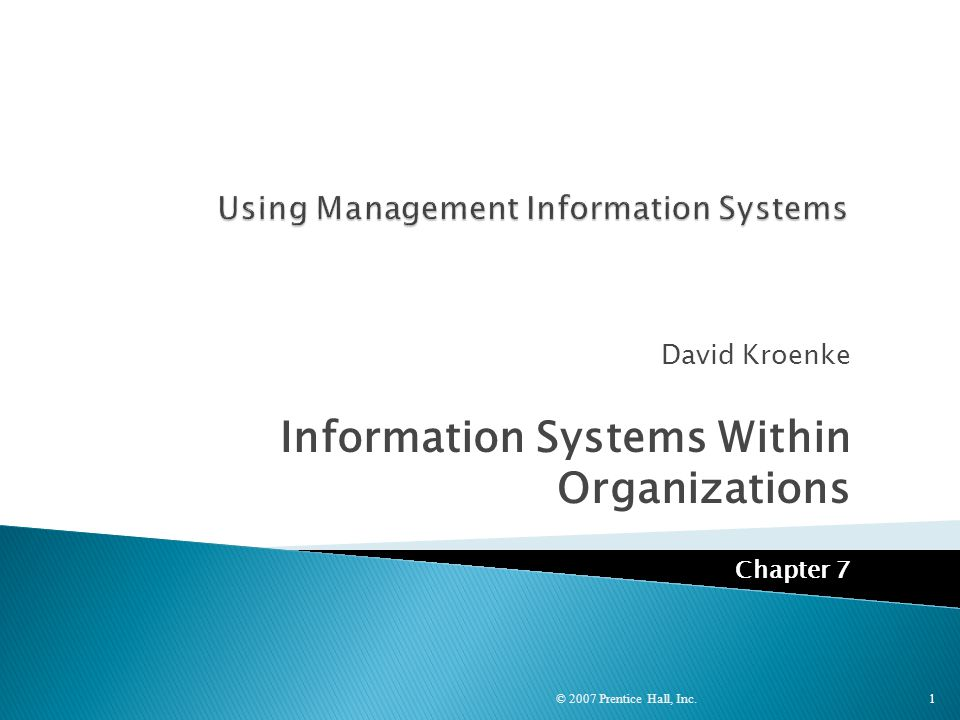 Using Management Information Systems