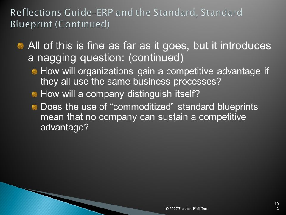 Reflections Guide–ERP and the Standard, Standard Blueprint (Continued)