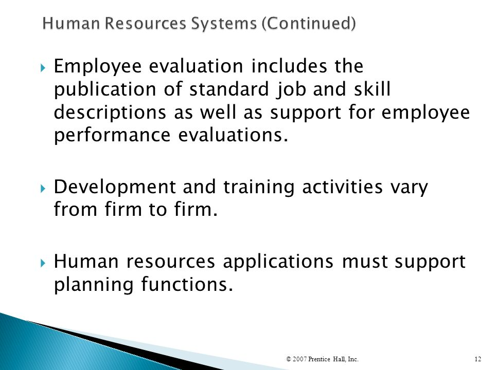 Human Resources Systems (Continued)
