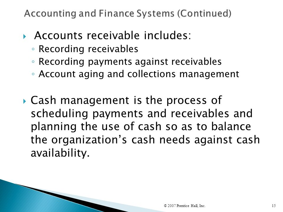 Accounting and Finance Systems (Continued)
