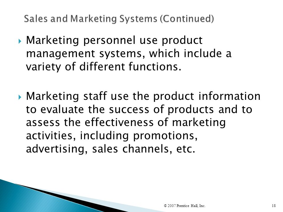 Sales and Marketing Systems (Continued)