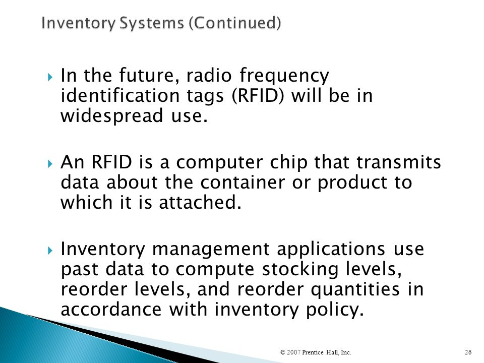 Inventory Systems (Continued)
