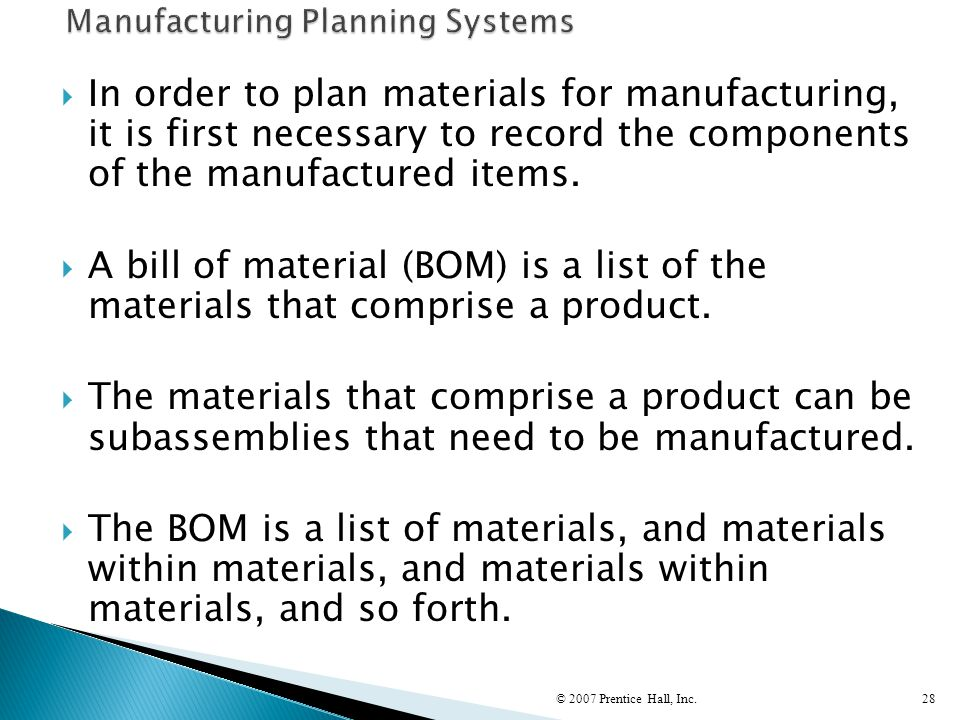 Manufacturing Planning Systems