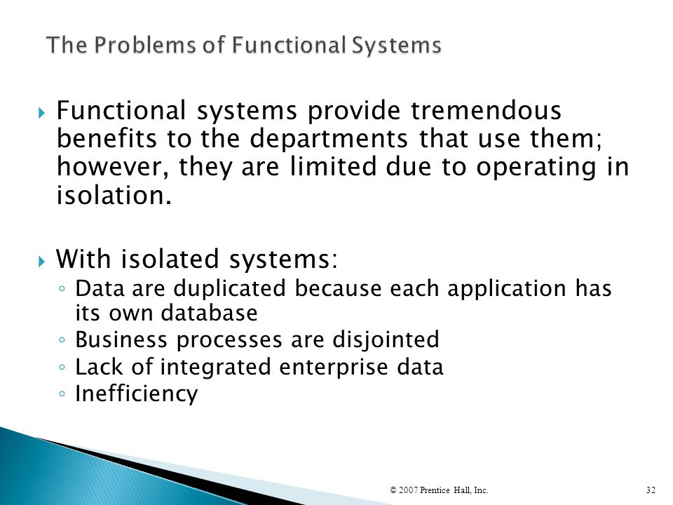 The Problems of Functional Systems